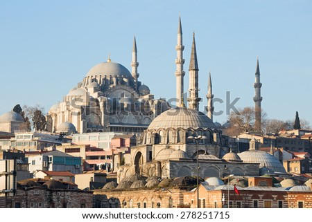 Rustem Pasha Mosque and Suleymaniye Mosque, Istanbul, Turkey - stock photo