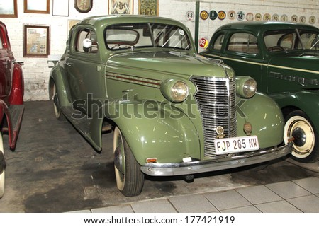 RUSTENBURG, SOUTH AFRICA- FEBRUARY 15:  Green 1938 Chevrolet Coupe Front View in Private Collection Philip Classic Cars on February 15, 2014 in Rustenburg South Africa.