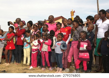 RUSTENBURG, SOUTH AFRICA - MAY 25: Crowd of Black African Spectators  at Rustenburg Fair on May 25, 2014 in Rustenburg South Africa.