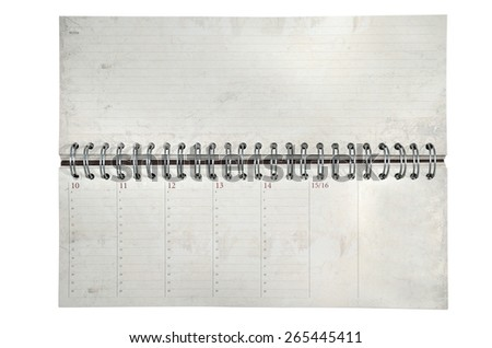 Rustic agenda with metal spiral and marked dates and hours - stock photo