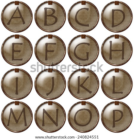 Rustic Alphabet Brads with Rusty Metal Frames Letters A through P - stock photo