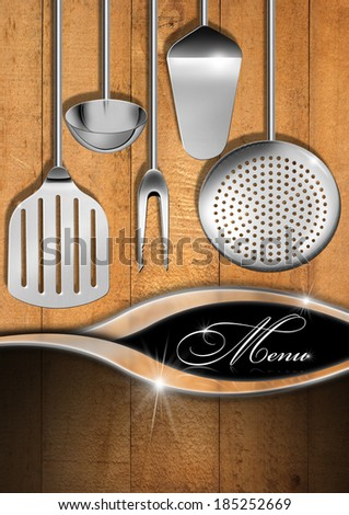 Rustic and Modern Menu Template / Wooden boards with kitchen utensils and metal waves, template for a rustic and modern menu - stock photo