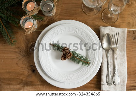 Rustic and natural Christmas table setting. Top view. - stock photo