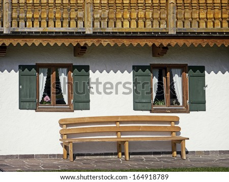 rustic backyard at a typical bavarian holiday villa - stock photo