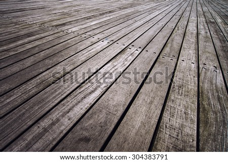 Rustic Boardwalk Texture in Perspective as Background - stock photo