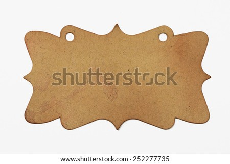 Rustic brown gift tag - stock photo