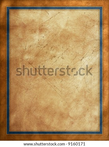 Rustic brown worn sign with blue border - stock photo