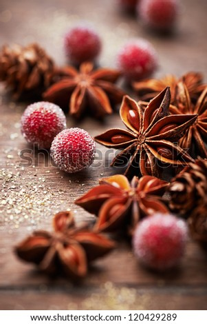 Rustic christmas decoration with star anise - stock photo