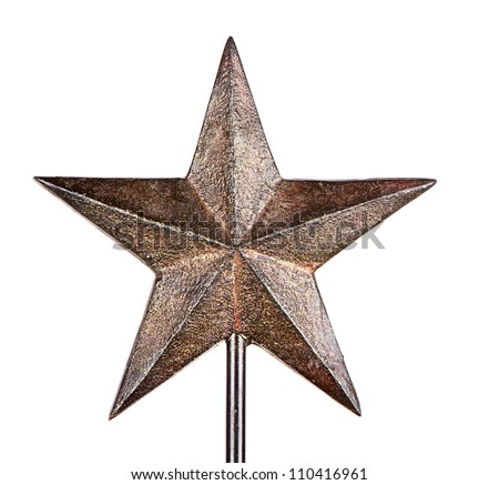 Rustic Christmas star tree topper, isolated on white - stock photo