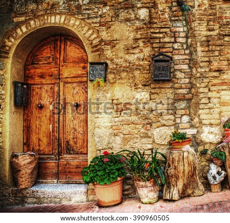 rustic corner in San Gimignano, Italy - stock photo