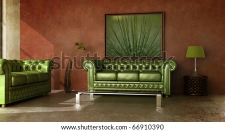 Rustic country interior with green leather sofa. - stock photo