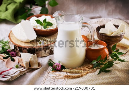 rustic dairy products still life with birch and clover - stock photo