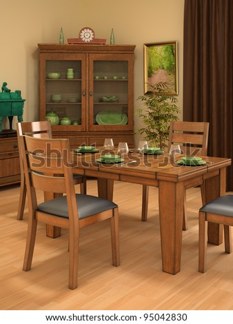 rustic dining room including wardrobe, tableware, houseplant, tableware, curtain and picture - stock photo