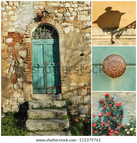 rustic doorway collage, Tuscany, Italy, Europe - stock photo