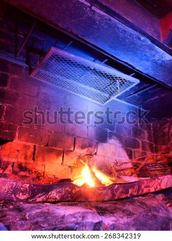 Rustic fireplace. Shot in South Africa. - stock photo