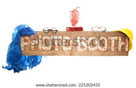 rustic floral photo booth sign cutout - stock photo