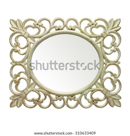 Rustic frame and mirror on white background. Clipping path inside mirror - stock photo
