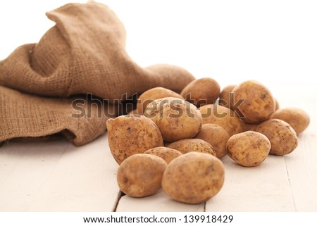 Rustic fresh unpeeled potatoes on a white wooden table