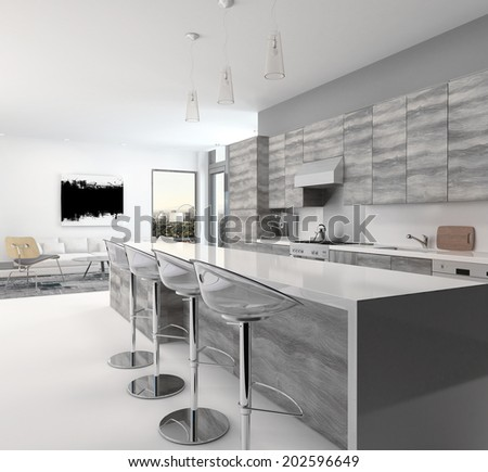 Rustic gray style wooden open-plan kitchen interior with a long bar counter and stools in a spacious living room with corner windows - stock photo