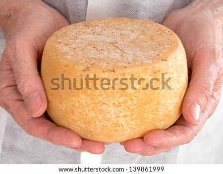 Rustic hand made gourmet cheese with producer - stock photo