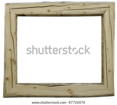 Rustic hand-made wood frame with slightly irregular outer edges. - stock photo