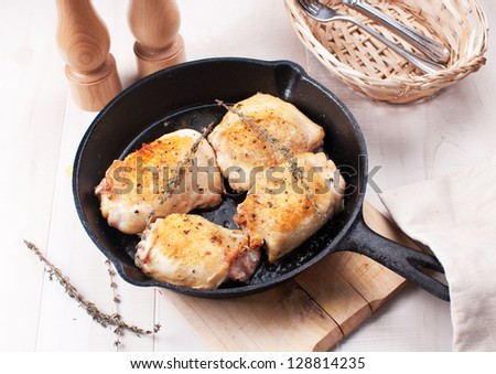 Rustic home fried chicken thighs - stock photo