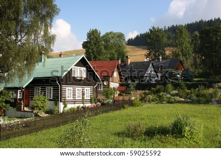 Rustic house in Jizera mountains. Czech republic, Europe - stock photo