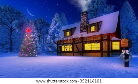 Rustic house with smoking chimney and icicles on the eaves and christmas tree under starry night sky with half moon. Mailbox decorated with christmas garland on foreground. Decorative 3D illustration.
