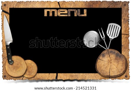 Rustic Menu Background - Photo Frame / Empty wooden frame with sections of tree trunk, kitchen utensils, and written Menu. Isolated on white. Background for a recipes or a rustic menu - stock photo