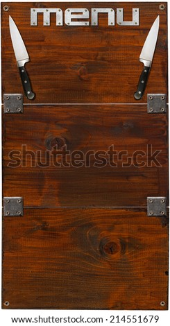 Rustic Menu Background / Vertical wooden background with three dark wooden boards, two kitchen knives and written Menu. Template for recipes or a rustic menu - stock photo