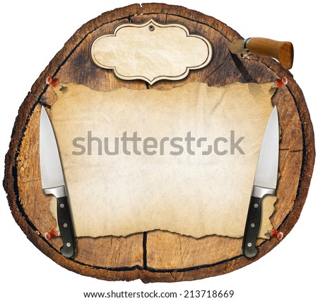 Rustic Menu Background / Wooden trunk section background with two kitchen knives, a folding knife, empty parchment and label. Background for a rustic menu  - stock photo