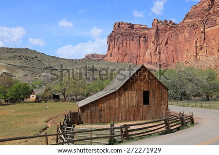Rustic old barn in Capitol Reef National Park, Utah, USA. - stock photo