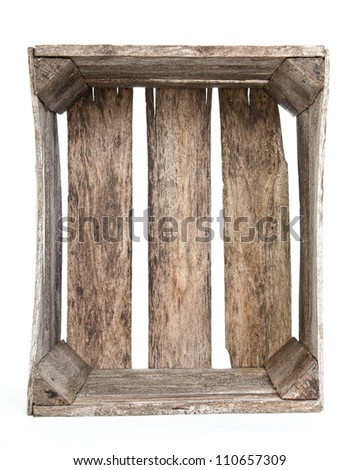 Rustic old empty wooden crate - stock photo