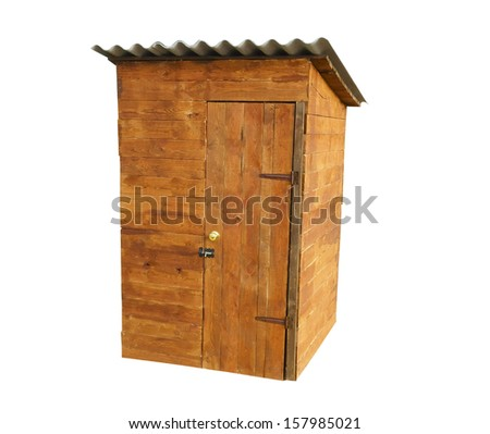 Rustic old wooden toilet on a white background - stock photo