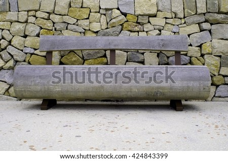 rustic park bench - stock photo