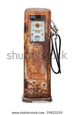 Rustic pump isolated in white background. Legends in spanish. - stock photo