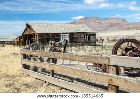 Rustic remnants of an abandoned ranch in Nevada's Great Basin region. - stock photo