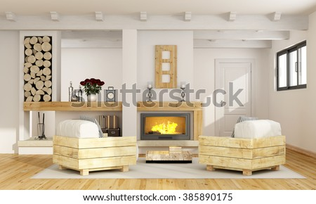 Rustic room with fireplace and two pallet armchair - 3D Rendering - stock photo
