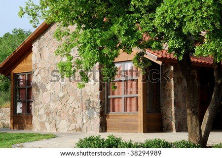 Rustic rural house on a sunny day