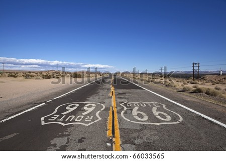 Rustic section of Route 66 deep inside California's mojave desert. - stock photo