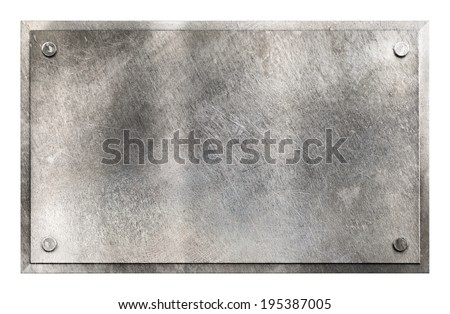 Rustic shiny gray metal sign plate with rivets texture background isolated on white - stock photo