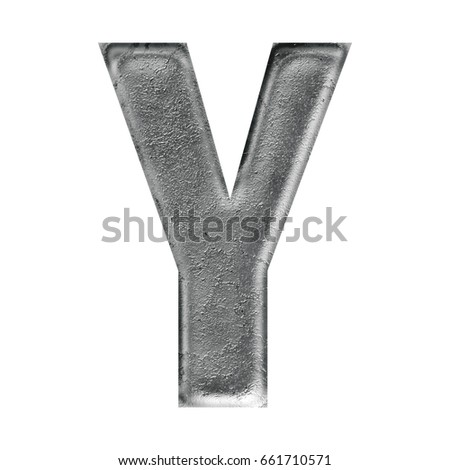 Rustic silver aged metal uppercase or capital letter Y in a 3D illustration with a bold font style isolated on a white background with clipping path.