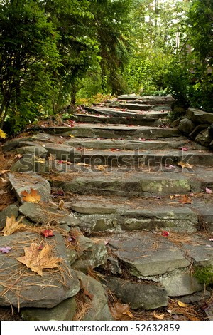 Rustic stairs made of stone in an autumn scene with trees and fallen leaves. - stock photo