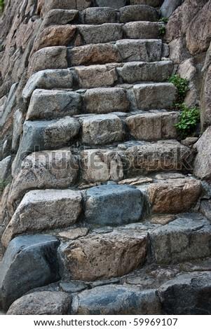 Rustic stone stairway. - stock photo
