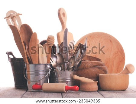 Rustic style kitchen - wooden and retro untersils - stock photo