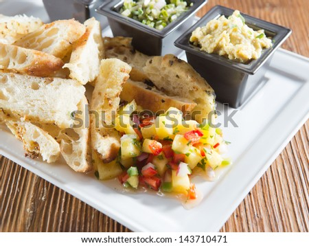 Rustic styled appetizer selection of toasted artisan French sliced baguette served with pineapple mango salsa alongside hummus, green chile and black bean dip. - stock photo