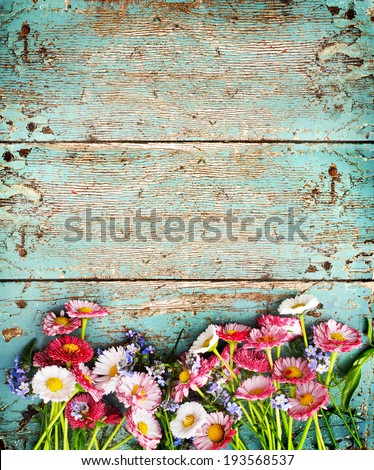 Rustic Summer Background With Colorful Daisy On Texture Table