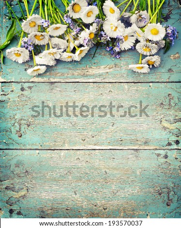 Rustic Summer Background With White Daisy On Texture Table