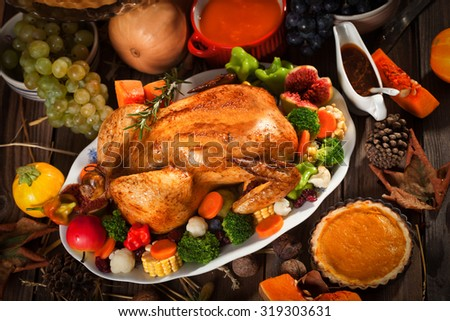 Rustic Thanksgiving Dinner - stock photo