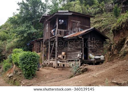 Rustic Village in Chin State, Myanmar (Burma) - stock photo